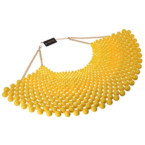 Fashion Jewelry Chain CCB Resin Beads Charm Choker Chunky Statement Bib Necklace (Yellow)