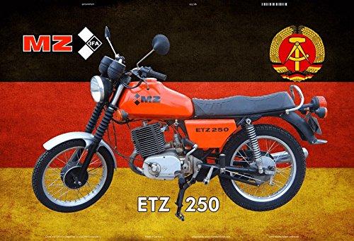 MZ IFA ETZ 250 motorrad, motorcycle, motorbike schild aus blech, metal sign, tin