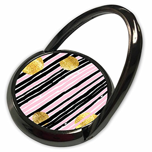 ugh - Patterns - Pink and Gray Hand Painted Stripes With Gold Circles - Phone Ring (phr_252978_1) ()