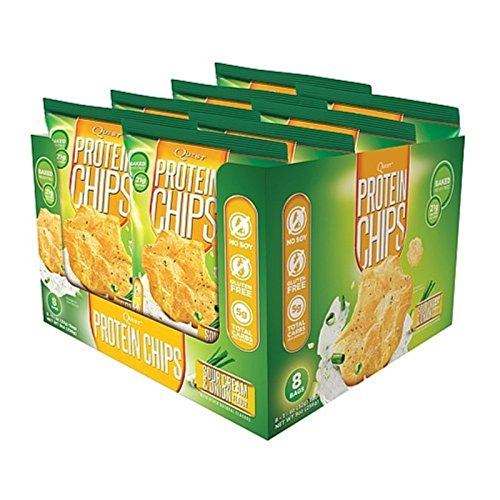 Quest Nutrition Protein Chips, Sour Cream & Onion, 21g Protein, 3g Net Carbs, 130 Cals, Low Carb, Gluten Free, Soy Free, Potato Free, Baked, 1.2oz Bag, 8 Count