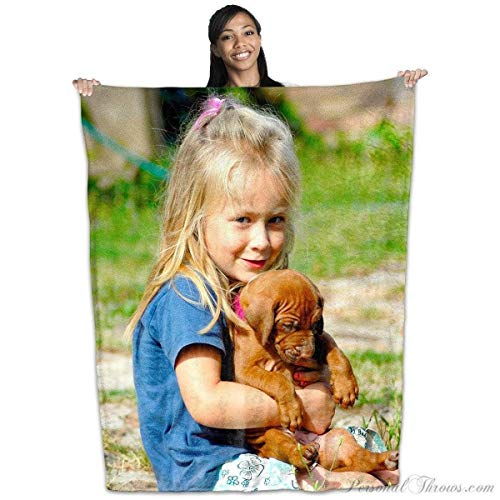 Custom Blanket for Mothers Day Unique Gift - Coral Fleece Custom Photo Blanket - Put Your Photo on a Coral Plush Fleece Blanket - 50 Inch by 60inch