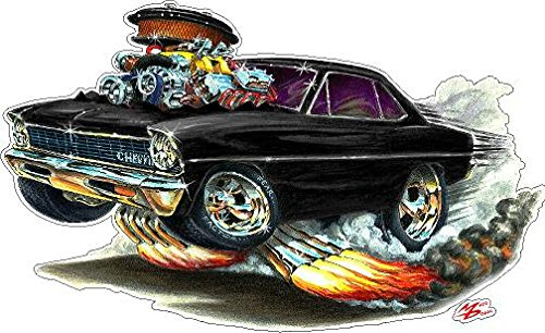 1966-1967 Nova Small 2Ft long WALL DECAL Chevy Chevrolet Vintage 3D Cartoon Car Movable Stickers Vinyl Wall Stickers for Kids Room (Best 1970s Muscle Cars)