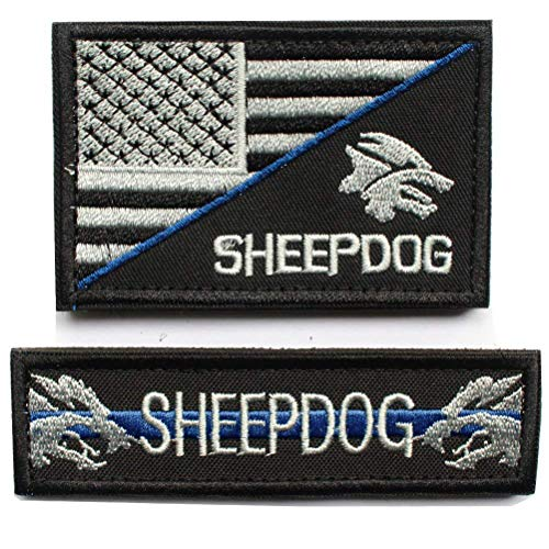 2pcs Bundle - Sheepdog thin blue line Tactical Morale Patch with backing Decorative Embroidery (2pcs)