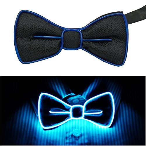 Fixinus LED Light Up Bow Tie Perfect for Christmas Halloween New Years Music Festival Rave Party (Blue)