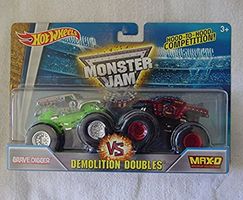 2016 Hot Wheels Monster Jam Demolition Doubles - Grave Digger vs. Max-D 1:64 Scale - Red Monster Truck