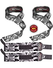 """Rip Toned Lifting Straps + Wrist Wraps Bundle (1 Pair of Each) 18"""" or 13"""" Wraps for Weightlifting, Xfit, Workout, Gym, Powerlifting, Bodybuilding, Strength Training - Men & Women"""