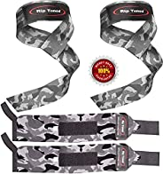 Lifting Straps + Wrist Wraps Bundle (1 Pair of Each) by Rip Toned - Wrist Support Braces & Wrist Straps fo