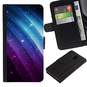 EuroTech - Samsung Galaxy S5 Mini, SM-G800, NOT S5 REGULAR! - Glitter Purple Blue Rainbow Black Sparkle - Cuero PU Delgado caso Billetera cubierta Shell Armor Funda Case Cover Wallet Credit Card