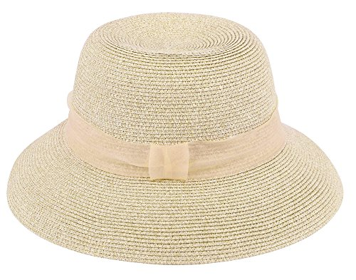 6588d7ccb1854b Lullaby Womens Foldable UPF 50+ Structured Curved Wide Brim Bucket Straw  Sun Hat