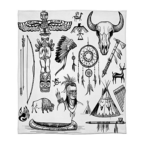 TecBillion Warm Flannel Blanket,Native American,for Folding Bed Crib, Stroller, Travel, Couch and Bed,Size Throw/Twin/Queen/King,Set of Wild West American Indian Culture