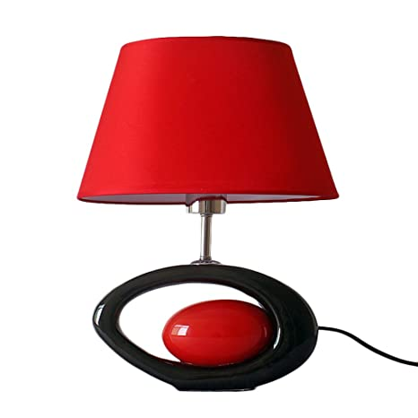 Modern table lamp black oval ceramic lamp body and red ...