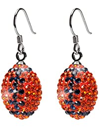 Orange and Blue Striped Crystal Football Earrings