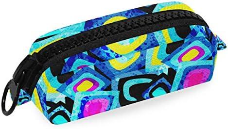 Montoj - Estuche para lápices de gran capacidad, diseño de geometría de colores fríos, organizador de brochas de maquillaje, bolsa de lona: Amazon.es: Oficina y papelería