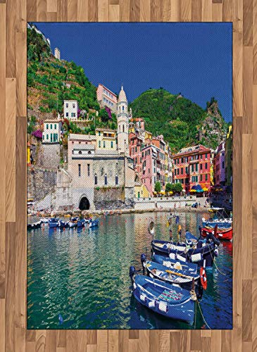 Vernazza Area Rugs 4'x5.7'ft,Panoramic View of Italian Village with Houses and Small Fishing Boats Print Rubber Backing Floor Carpet Throw Rug Runners for Bedroom Living Room, Multicolor ()