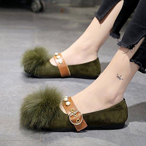 Perezosos Felpa de de Zapatos un Guisantes Boca EUR38 verde Pedal Pelo Redonda de Zapatos de Zapatos de Cabeza Pelota Zapatos Baja Planos ejercito zqgY88