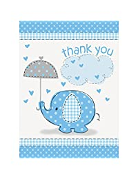 Blue Elephant Boy Baby Shower Thank You Cards, 8ct