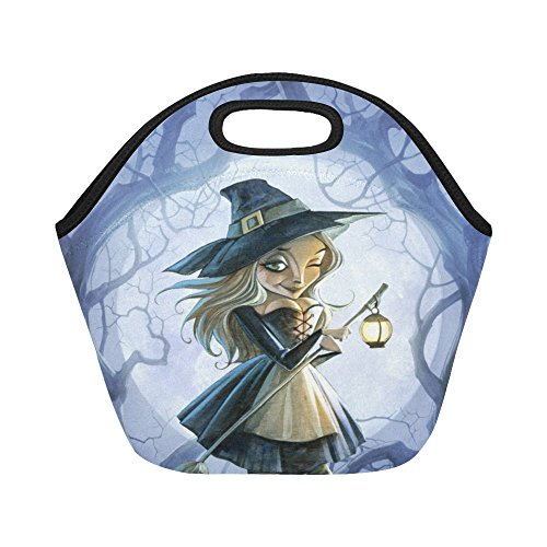 Happy More Custom Halloween Witch With Broomstick And Lantern Lunch Box Kids Teens Adult Lunch Bag]()