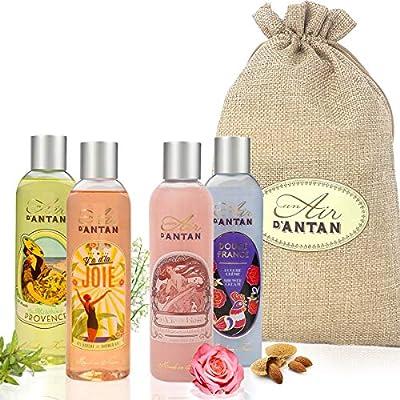 Beauty Set 4 Duschgels In Einem Shönen Jutebeutel Un Air D'Antan/ 4 Duft: Rose, Mandel, Verbena, Kirschbäume. Pack…