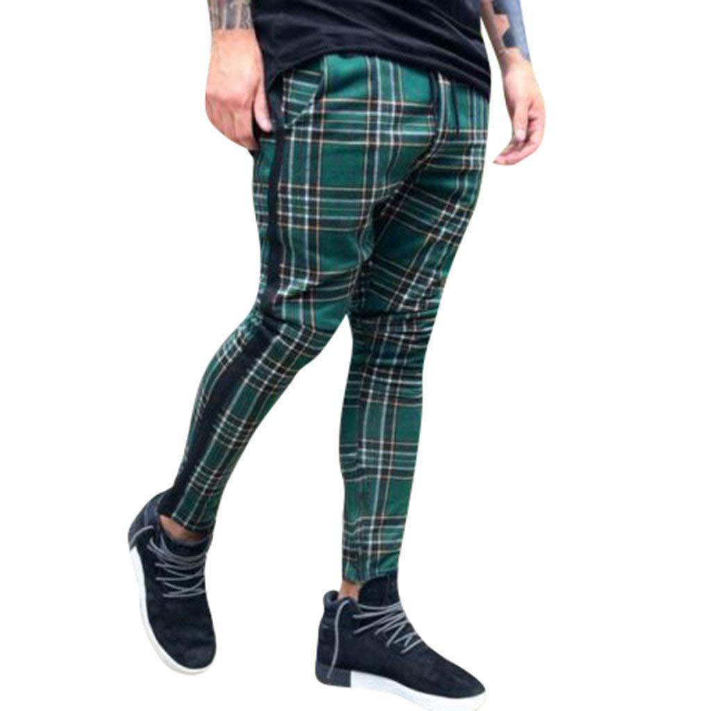 Pantalones para Hombre Largos Moda Estampado a Cuadros Bolsillo Pantalones Deportivos Pantal/ón Jogger Transpirable C/ómodo Pantalones Casuales Fitness riou