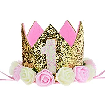 Baby Princess Tiara Crown,  Aiernuo Baby Girls Boys First Birthday Hat Sparkle Gold Flower Style (1 Style)