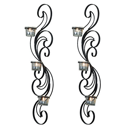 Adeco Decorative Iron Vertical Candle Tealight Pillar Holder Wall Sconce, Antique Vintage Vine Style, Large Classy Home Decor Accents, Set of Two