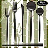 Matte Black Silverware Set - 20 Piece Dinnerware Set plus 4 Pairs of Chopsticks - Kitchen Utensil Flatware - Knifes/Forks/Spoons & Chopstick Cutlery-Stainless Steel Modern Utensils/Contemporary Style