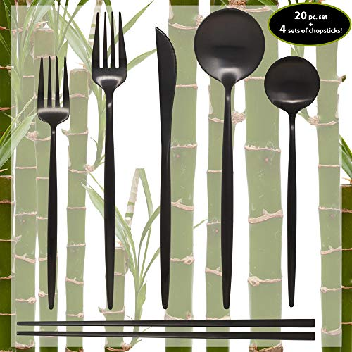 Contemporary Matte - Matte Black Silverware Set - 20 Piece Dinnerware Set plus 4 Pairs of Chopsticks - Kitchen Utensil Flatware - Knifes/Forks/Spoons & Chopstick Cutlery-Stainless Steel Modern Utensils/Contemporary Style