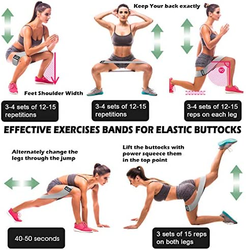 Resistance Bands for Legs and Butt, Exercise Bands Booty Bands Hip Bands Wide Workout Bands Sports-Fitness Bands Stretch Resistance Loops Band Anti Slip Elastic (Set of three)