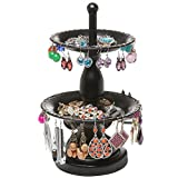 Mini 2-Tier Fountain Style Black Metal Earring Hanger & Ring Dish Jewelry Tower Display Stand - MyGift