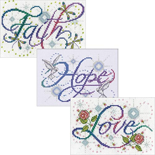 Design Works, Faith Hope Love, Counted Cross Stitch Kits Bundle - 3 Designs, 5 by 7 inches Each and 3 Gift Cards