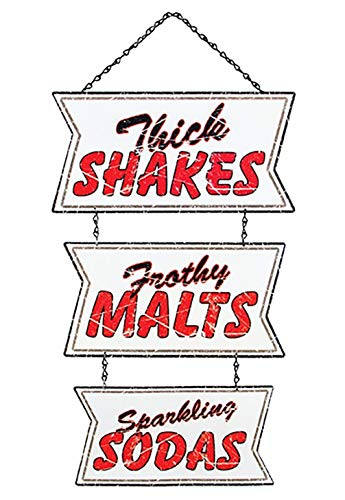 OHIO WHOLESALE, INC. Retro Ice Cream Shakes Malts Soda Shop Hanging Sign