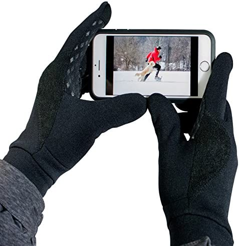 TrailHeads Men's Running Gloves - Black Touchscreen Gloves - Power Stretch Lightweight Gloves