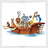Cotton Microfiber Hand Towel,Religious,Illustration of Many Animals Sailing in the Boat Mythical Journey Faith Giraffe,Multicolor,for Kids, Teens, and Adults,One Side Printing