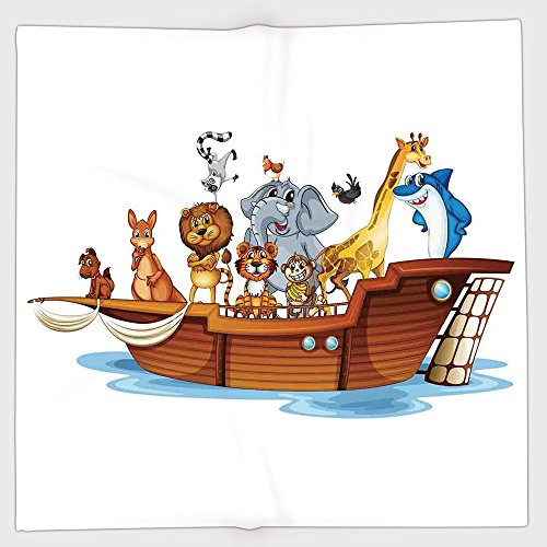 Cotton Microfiber Hand Towel,Religious,Illustration of Many Animals Sailing in the Boat Mythical Journey Faith Giraffe,Multicolor,for Kids, Teens, and Adults,One Side Printing by iPrint