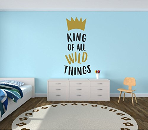 Wall Decal For Kids - King Of Wild Things - Where The Wild Things Are Theme Room - Crown Design - Vinyl Wall Art and Decor for Children's Bedroom or (Go Industries Black Powder)