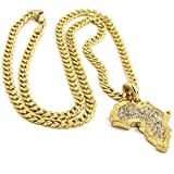Mens 14k Gold Plated Hip-Hop Iced Cz Africa Pendant 30'' Cuban Chain Necklace D817
