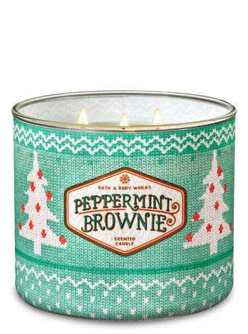 White Barn Bath & Body Works 3 Wick Candle Peppermint Brownie - Brownie White