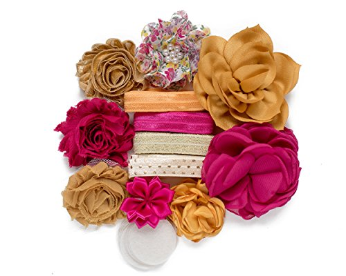Spice Girl :DIY Deluxe Mini Headband Kit MAKES 8 Headband Hair Accessories : Shabby Chiffon Craft Roses FOE Fold Over Elastic : Mustard Yellow + Rose Pink | Princess Parties & Baby Showers