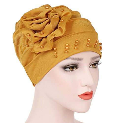 Women Beading India Hat Muslim Ruffle Cancer Chemo Beanie Scarf Turban Wrap Cap Laimeng_World (Hooded Rhinestone)