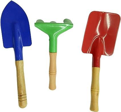 BESTOMZ Mini Shovel Rake Spade Garden Planting Gardening Tools 3pcs//Set