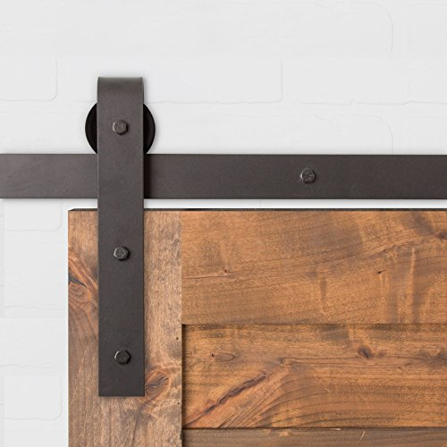 Artisan Hardware 8FT Barn Door Hardware Kit Oil Rubbed Bronze Classic |USA Made| Nylon Wheels | Pre Drilled Track