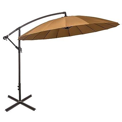 a510553ff6e6 Sundale Outdoor 9ft Aluminum Offset Patio Umbrella with Crank and Cross Bar  Set, Cantilever Umbrella for Deck, Garden, Backyard, 18 Fiberglass Ribs, ...