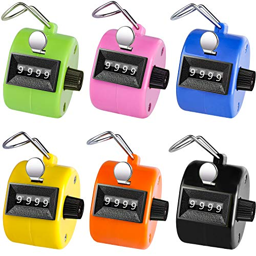 Ktrio Pack of 6 Color Hand Tally Counter 4 Digit Tally Counters Mechanical Palm Counter Clicker Counter Handheld Pitch Click Counter Number Count for Row, People, Golf & Knitting, Assorted -
