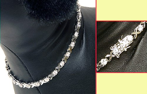 Anima Dog Cubic Cystal Necklace White Gold Plated Pets Jewelry - 10 Inch