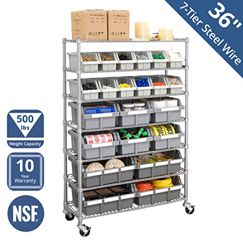 Seville Classics Commercial 7-Tier Platinum/Gray NSF 22-Bin Rack Storage System from Seville Classics