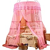 Bed Mosquito Nets Round Dome Extro Large Ceiling Hanging Drapes Pink