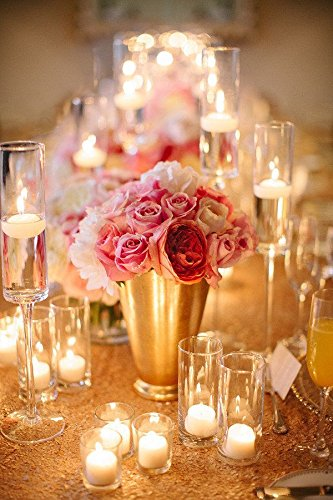 Best Wholesale 10pcs 90x132inch Rectangle Sequin Tablecloth, Gold Sequin Tablecloth Shimmer Sequin Fabric,Table Linen Wedding/Party/Evening Dress Decoration by LQIAO