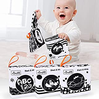 TUMAMA Baby Toys 0 3 6 to 12 Months,Soft Cloth Books for Babies, My First Soft Books Early Education Toys with Fruit, Numbers, Animals, Shape, Letters,3 Pack