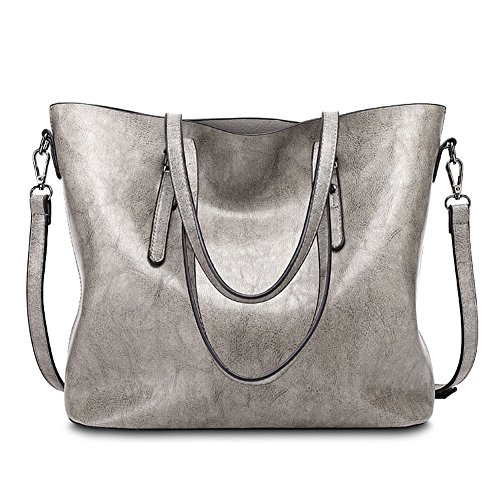 Grey Soft Leather (Abshoo Womens Soft Leather Purses Handbags Tote Shoulder Bags (Grey))
