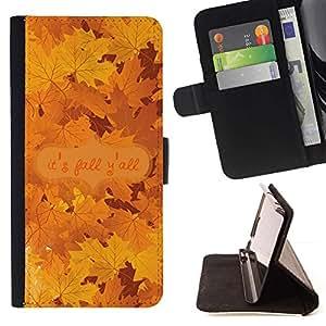 Momo Phone Case / Flip Funda de Cuero Case Cover - Hojas de arce del otoño Árbol de oro de Brown - Samsung Galaxy A5 ( A5000 ) 2014 Version